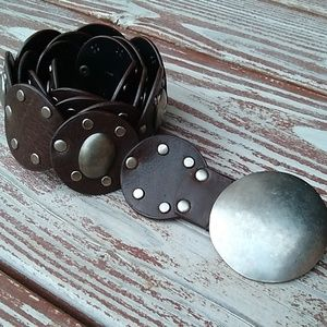 Silver & Brown Leather like Conch Belt